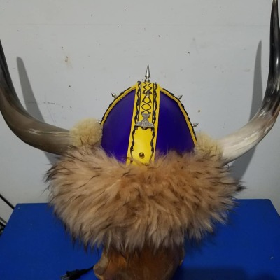 Minnesota Vikings helmet Medieval helmet Leather helmet. Dragon Skin helmet Leather horned helmet Vikings helmet